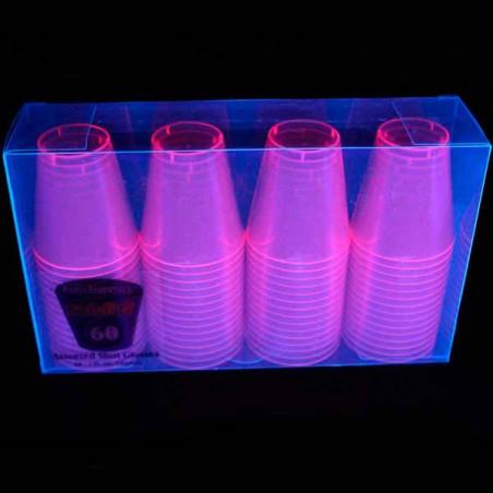 20 Vasos de chupito rosa discoteca UV