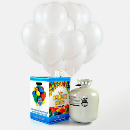 Bombona de Helio Maxi + 50 Globos plateados para bodas