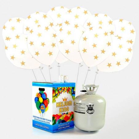 pack  50 globos blancos con estrellas helio