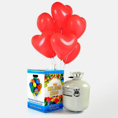 50 globos corazón rojos helio