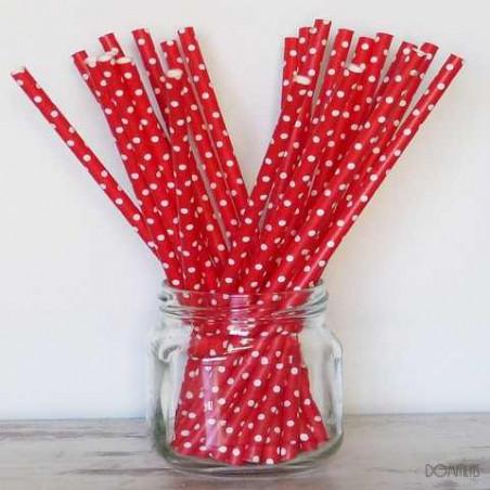 Pack de 25 pajitas de papel rojas con topos
