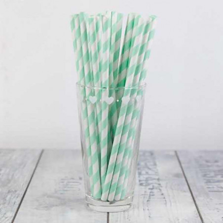 25 pajitas de papel rayas menta