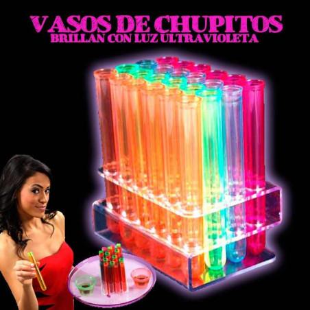 Chupito Probeta Brilla con luz UV
