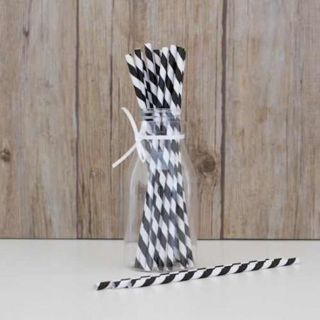 Pack de 25 pajitas de papel rayas negras