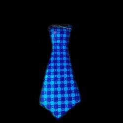 Corbata neon atrezzo cuadros azules