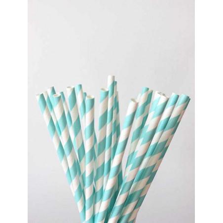 Pajitas de papel rayas azul celeste