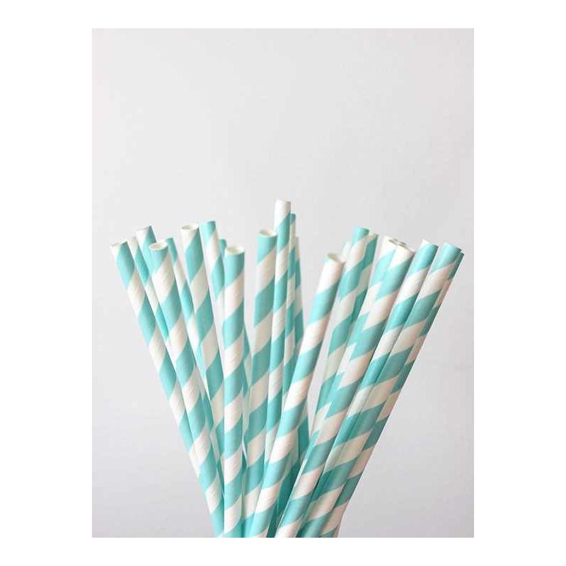 Pajitas de papel con diseo a rayas color azul celeste