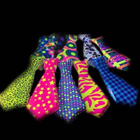 kit corbatas cortas fiestas neon