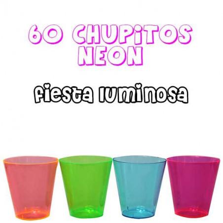 60 Vasos de chupito neon luz negra 60ml