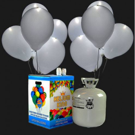 Bombona de helio Maxi + 45 globos luminosos LED Blancos