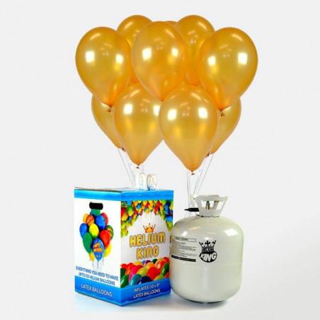 50 globos dorados + Bombona de Helio Maxi