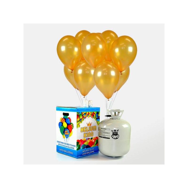 50 globos dorados con helio para decorar bodas o aniversarios - Bombona de helio para globos ...