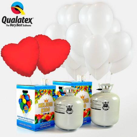 75 globos blancos y 2 corazones rojos + 2 Bombona helio