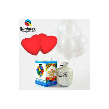 25 globos blancos y 2 corazones rojos + 1 Bombona helio