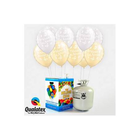 """50 globos """"viva los novios"""" y botella de helio"""