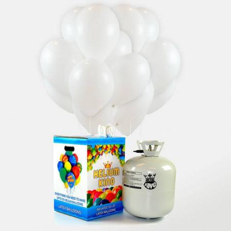 50 globos blancos + botella de helio maxi