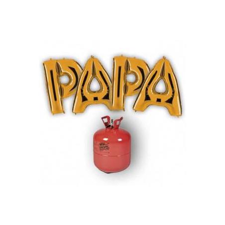"4 globos FOIL ""PAPA"" ORO + 1 Bombona de helio maxi."