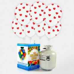 50 Globos Blancos con Corazones + Bombona helio Maxi