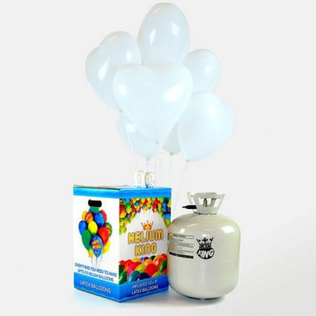 50 globos corazón blancos + bombona helio