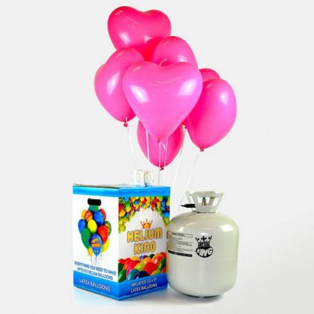 50 globos corazón rosas helio