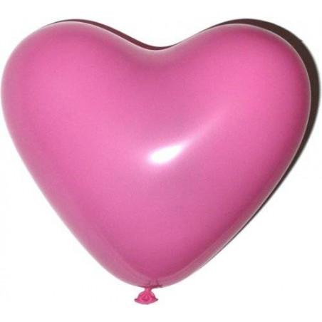 Globos corazón rosas