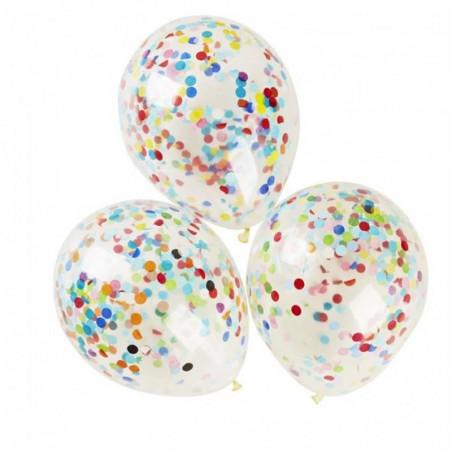 globos transparentes con confeti multicolor