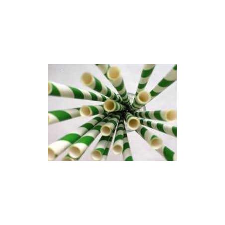 Pack de 25 pajitas de papel verdes rayas