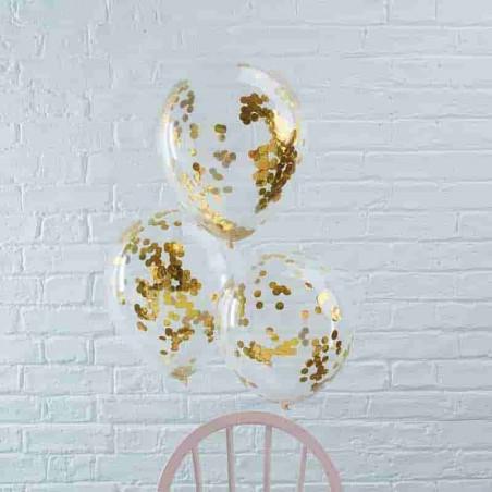 6 Globos transparentes con confeti dorado