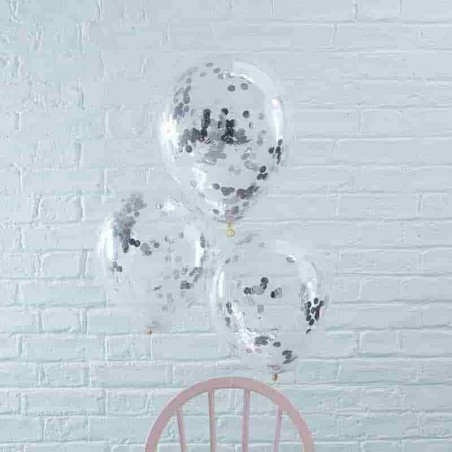 6 Globos transparentes con confeti plateado