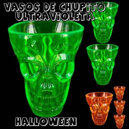 4 vasos chupito calavera Halloween