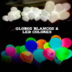 Globos blancos luminosos led colores