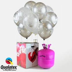 Bombona de helio Maxi + globos para bodas