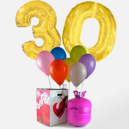 """2 Globos FOIL dorados """"Numeros"""" ORO + 30 globos colores con Botella de helio"""