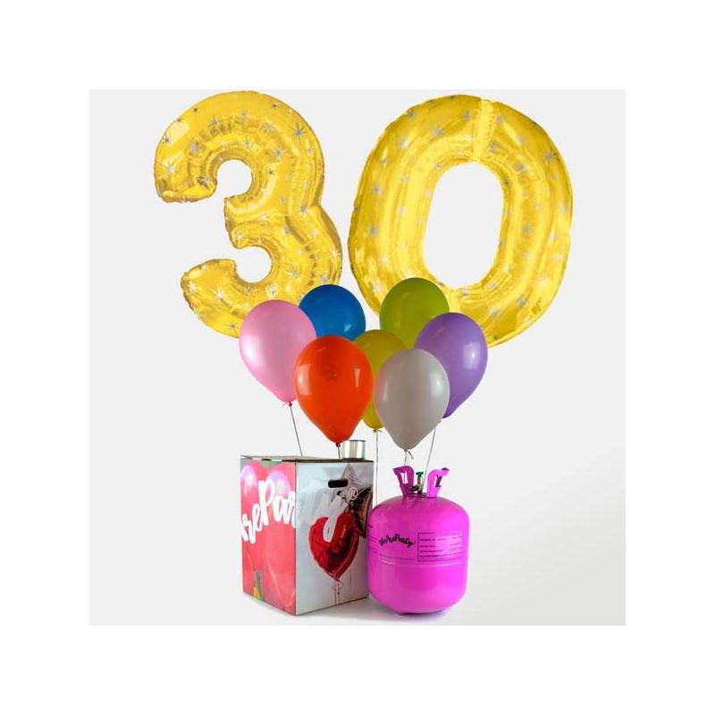 2 globos foil dorados numeros oro 30 globos colores - Bombona de helio para globos ...