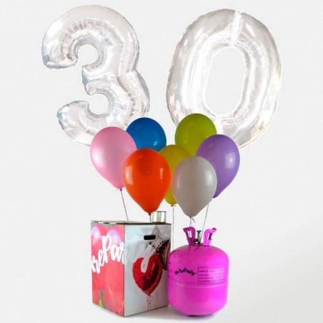 "2 Globos FOIL ""Numeros"" plata + 30 globos cumpleaños de helio"