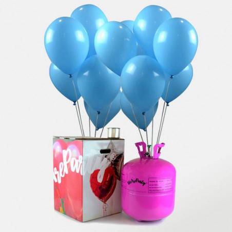 50 globos azules comunión + botella de helio maxi