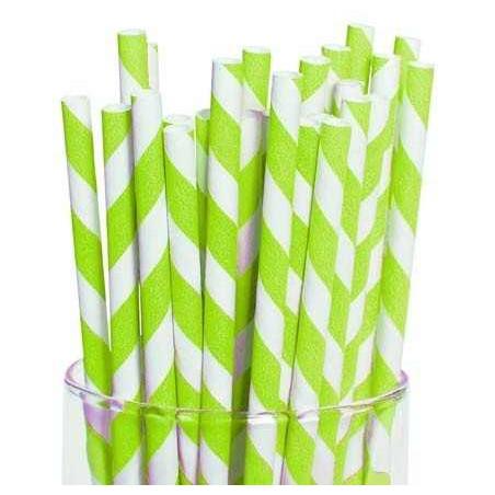 Pajitas de papel rayas verde lima