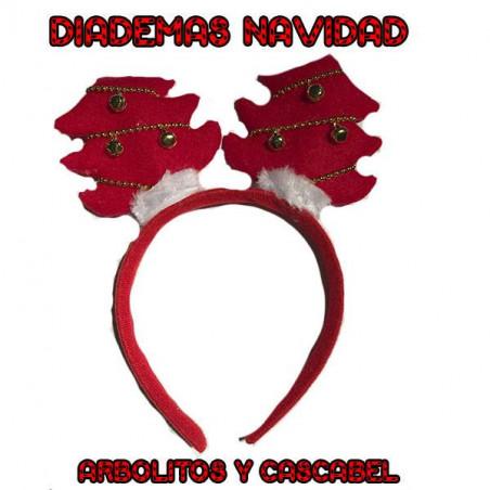 Diadema de navidad arbolitos con cascabeles