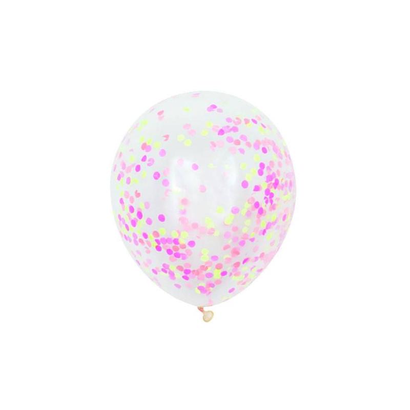 globos confeti neon rosa - Globos Transparentes
