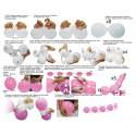 Guirnalda globos rosas y blancos