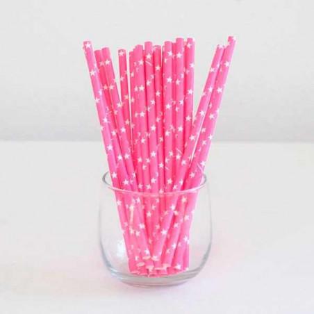 Pajitas de papel rosas con estrellas