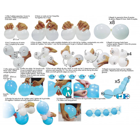 Guirnalda globos azul y blancos