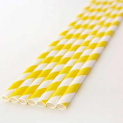 Pajitas de papel rayas amarillas
