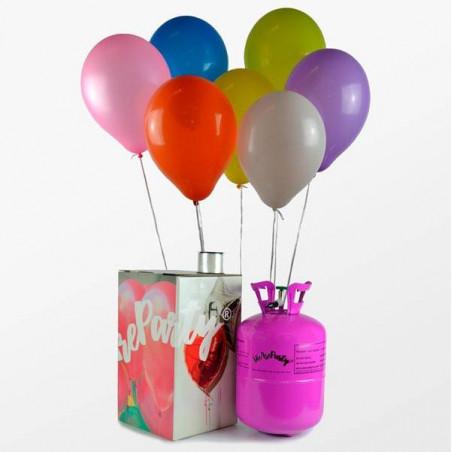 30 globos multicolor + Bombonas de helio mini