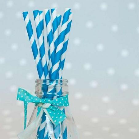 Pajitas pajas de papel con rayas azules