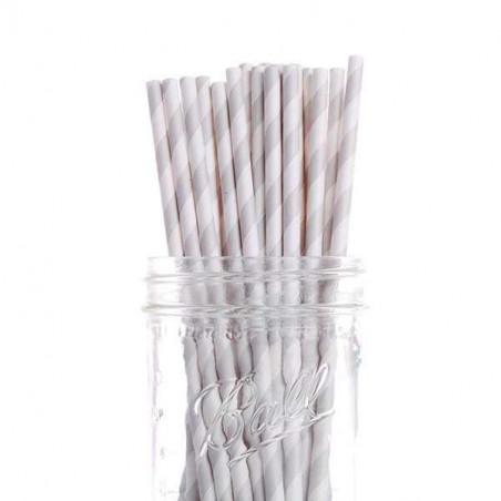 25 pajitas de papel rayas grises