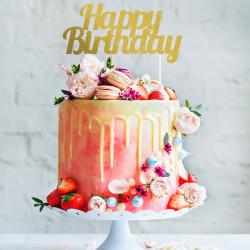 topper tarta feliz cumpleaños purpurina dorado
