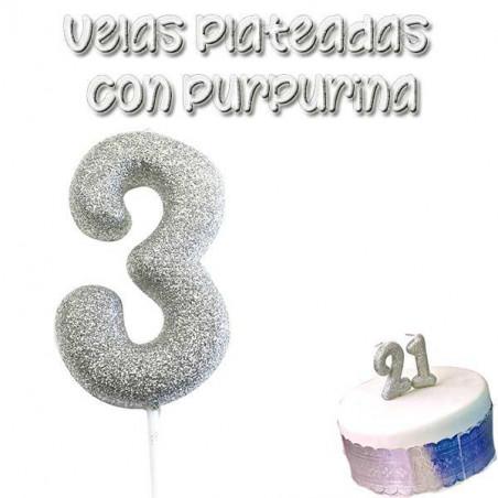 vela tarta plateada con purpurina número 3