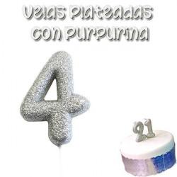 vela plateada glitter numero 4