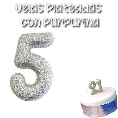 vela tarta plateada con purpurina número 5